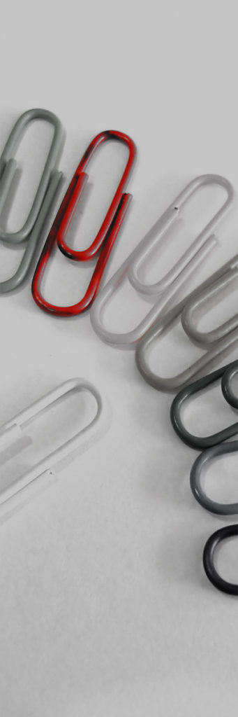 Color red business paper clips