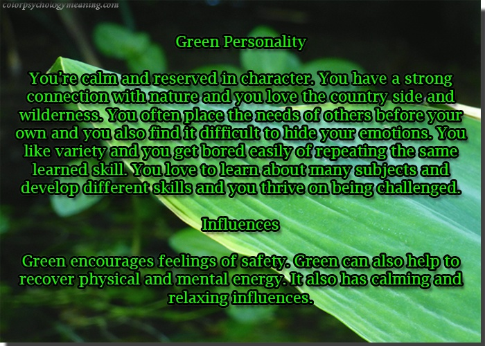 Color Green Color Psychology Personality Meaning