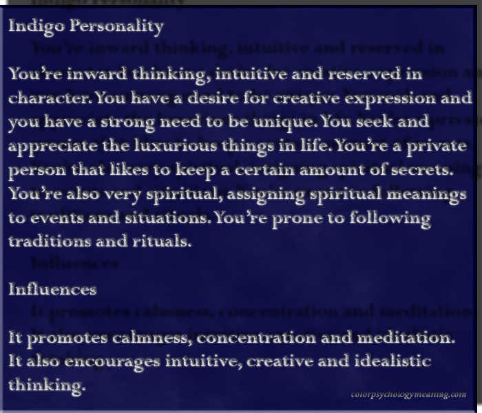 Indigo Personality & Affects