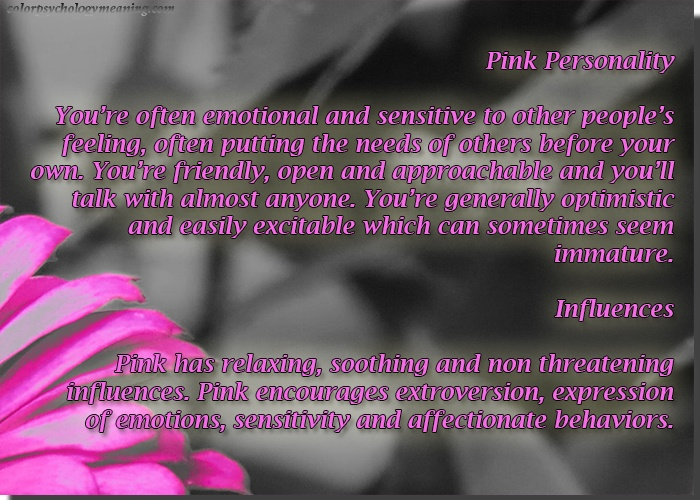 Color Pink Personality Affects