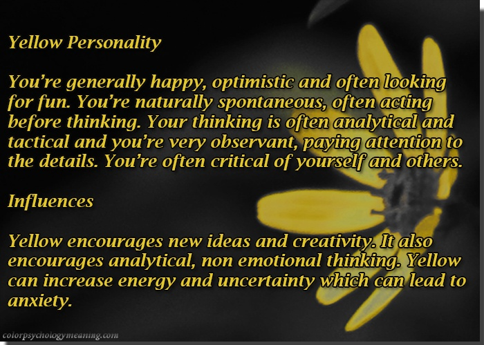Color Yellow Personality & Affects