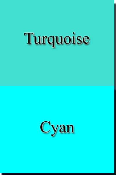 Difference between colors Turquoise and Cyan