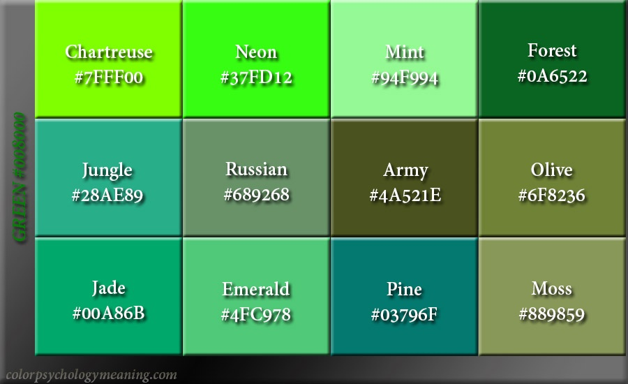 Shades of Green Hex