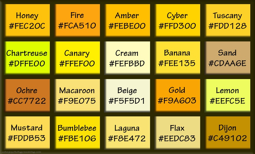 Dark shades & tints of yellow, with hex codes.